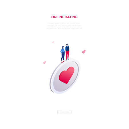 Online dating - modern isometric vector web banner on white background with copy space for text. High quality image with man and woman standing on a big button with a heart. Perfect for mobile apps