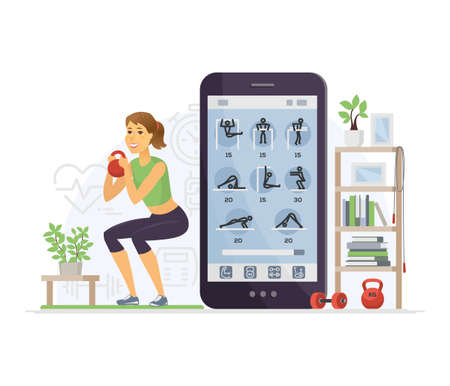 Fitness app - modern vector cartoon character illustration isolated on white background. Young woman doing squats with weight at home, using mobile service, smartphone to keep fit. Healthy lifestyle