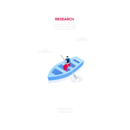 Research concept - modern isometric vector web banner on white background with copy space for your text. High quality illustration with businessman, manager rowing a boat, trying to achieve his goal
