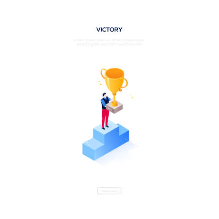 Victory concept - modern isometric vector web banner on white background with copy space for your text. High quality illustration with businessman, manager standing on a podium, getting the prize, cup