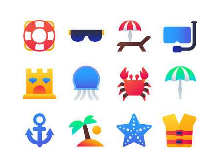 Beach holiday - set of flat design style icons on white background. High quality bright images with life vest, sunglasses, sunbed, sandcastle, crab, jellyfish, tent, palm, starfish, anchor, snorkel