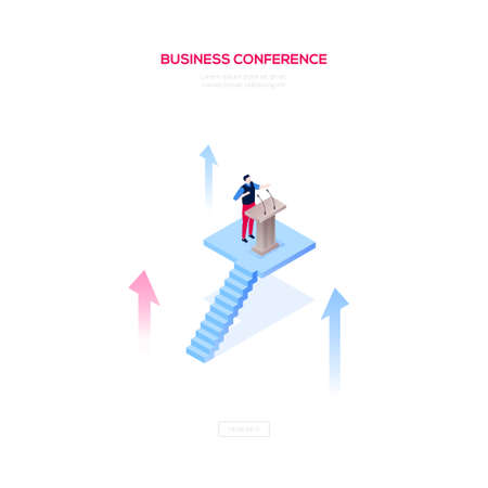Business conference - modern isometric vector web banner on white background with copy space for text. High quality illustration with a man, manager giving a speech at the lectern, public performance
