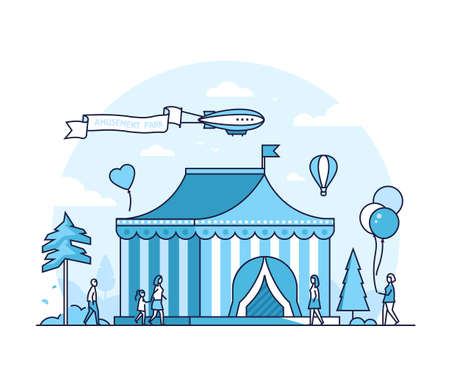 Circus - thin line design style vector illustration on white background. High quality blue colored composition with a chapiteau pavilion, people walking in the amusement park. Entertainment concept Illusztráció