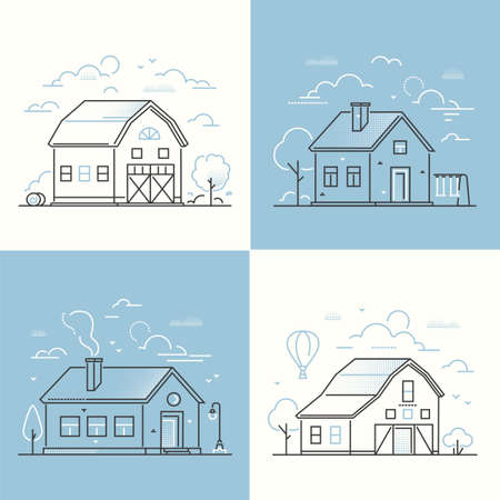 Cottage houses - set of thin line design style vector illustrations on white and blue background. Four images with small buildings, barn, lantern, tree, swing, haystacks. Farm, village architecture