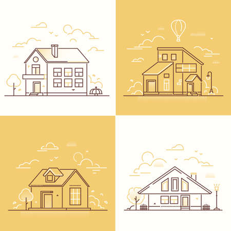 Town buildings - set of thin line design style vector illustrations on white and yellow background. Collection of nice small houses, lantern, tree, fence, merry go round, clouds. Suburban architecture
