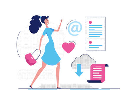 Modern girl - modern flat design style illustration on white background. High quality composition with cute woman walking, surfing on the internet, writing email, using cloud, clicking like button 일러스트