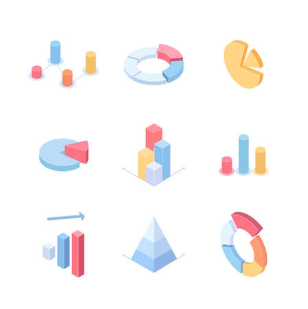 Infographic charts and diagrams - set of modern vector isometric elements isolated on white background. High quality colorful images of different graphs. Business analytics, statistics concept Illustration