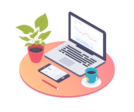 Büroarbeitsplatz - bunte isometrische Illustration des modernen Vektors auf weißem Hintergrund. Eine Komposition mit Schreibtisch, Laptop, Smartphone, Bleistift, Tasse Tee, Pflanze, Infografik auf dem Computerbildschirm Vektorgrafik