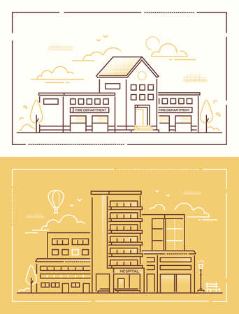 Fire department and hospital - set of line design style vector illustrations on white and yellow background. High quality collection of two public buildings, lantern, trees, bench. Urban architecture