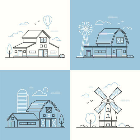Farm life - set of line design style vector illustrations on white and blue background. Four images with barn, mill, silage tower, haystacks. Countryside, village, agriculture concept Illustration