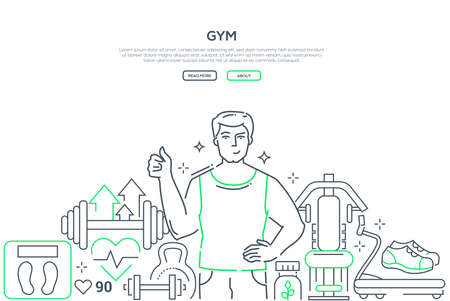 Gym - modern line design style web banner on white background with copy space for text. A composition with young man training, sportive equipment, barbells, weight, treadmill. Healthy lifestyle Stock Illustratie
