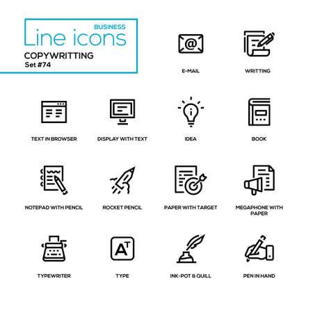 Copywriting concept - line design style icons set