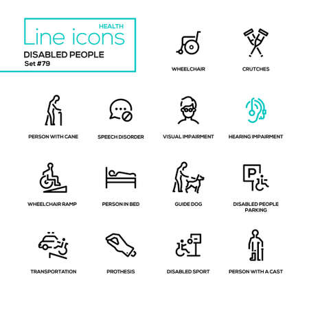 Disabled people - line design style icons set. Wheelchair, crutches, person with cane, speech disorder, visual and hearing impairment, ramp, in bed, guide dog, parking, transportation, prothesis, cast