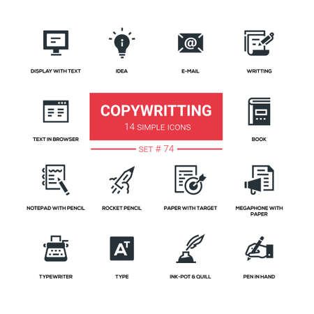 Copywriting concept - flat design icons set. E-mail, writing, text in browser, display, idea, book, notepad with pencil, rocket, paper with target, megaphone, typewriter, inkpot and quill, pen in hand