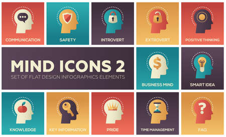 Mind icons - modern set of flat design infographics elements. Communication, safety, introvert, extravert, positive thinking, business mind, smart idea, knowledge, key information, time management, FAQ