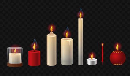 Bougies allumées - vecteur réaliste isolé clip art ensemble d'objets sur fond transparent. Lumières blanches, rouges, courtes, hautes, festives, simples de différentes formes et formes, avec un verre Vecteurs