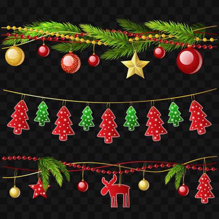 Guirnaldas de Navidad - conjunto de elementos aislados realistas vectoriales modernos
