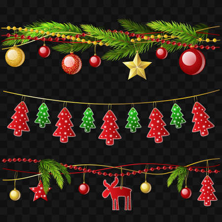 Christmas garlands - set of modern vector realistic isolated elements