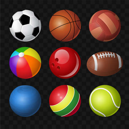 Balls - modern vector realistic isolated clip art on transparent background. Equipment for different sport games, football, soccer, basketball, baseball, volleyball, beachball, bowling, tennis and toy
