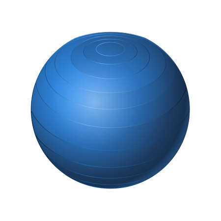 Rubber blue ball - modern vector realistic isolated object on white background. Game, sport concept. Use this high quality clip art for presentations, banners, flyers Illustration