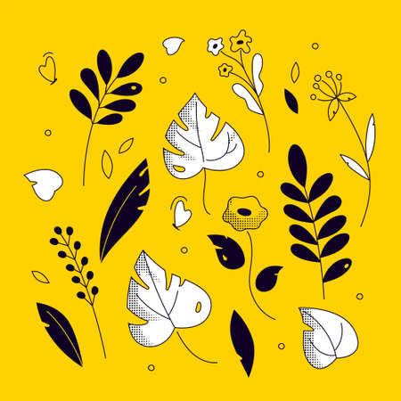 Floral ornament - modern flat design style illustration on purple background. Yellow, black, white flowers, leaves, plants, minimalistic herbal elements. Perfect for banners, invitations, cards 写真素材 - 111236653