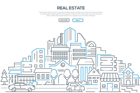 Real estate - modern line design style web banner on white background with copy space for your text. High quality composition with cityscape, housing complex, buildings, shops, cars on the road Stock Illustratie