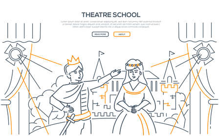 Theatre school - modern line design style web banner on white background with place for text. High quality composition with children, teenage boy and girl rehearsing the play on the stage, acting