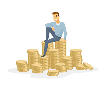 Financial success - modern cartoon people character illustration isolated on white background. A composition with a happy smiling man in casual clothes sitting on a pile of coins. Business growth