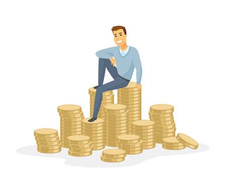 Finanzieller Erfolg - moderne Karikaturleute-Charakterillustration lokalisiert auf weißem Hintergrund. Eine Komposition mit einem glücklich lächelnden Mann in Freizeitkleidung, der auf einem Haufen Münzen sitzt. Geschäftswachstum