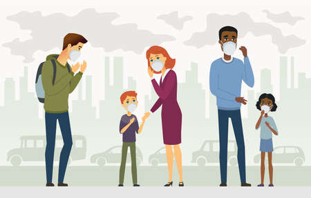 Air pollution - cartoon people characters illustration. High quality colorful composition with people, children and adults wearing protective mask, urban background with cars and buildings, factories Standard-Bild - 128175611