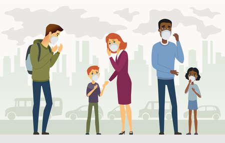 Contaminación del aire - ilustración de personajes de dibujos animados personas. Composición colorida de alta calidad con personas, niños y adultos con máscara protectora, fondo urbano con automóviles y edificios, fábricas