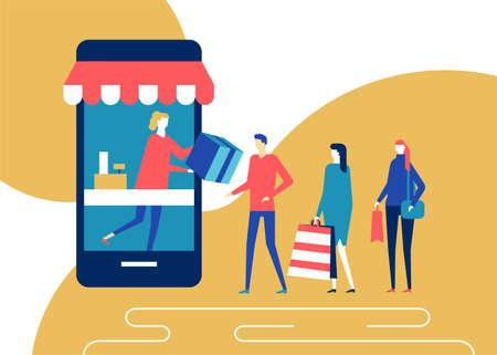 Online-Shopping - flache Design-Stil bunte Illustration. Hochwertige Komposition mit Abholpunkt, süßen Charakteren, Menschen, die in einer Schlange stehen, eine Verkäuferin, die Bestellungen verteilt, großes Smartphone Vektorgrafik