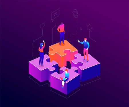 Il nostro team - illustrazione vettoriale isometrica colorato moderno su sfondo viola. Una composizione con uomini e donne d'affari, colleghi in piedi su pezzi di puzzle. Lavoro di squadra, concetto di cooperazione