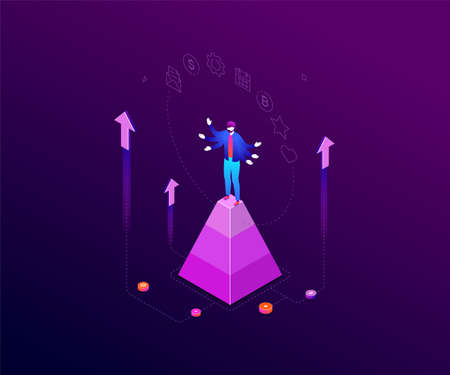 Multitasking concept - modern colorful isometric vector illustration on dark blue background. Composition with businessman on a pyramid juggling with tasks, images of calendar, bitcoin, email, gear