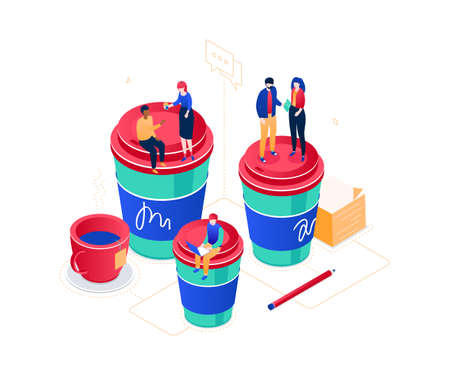 Coffee break - modern isometric vector web banner on white background. An illustration with business people, male. female workers on big cups, working with laptop, talking, discussing projects