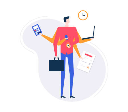 Multitasking concept - modern flat design style illustration on white background. High quality composition with a businessman with many arms holding calculator, laptop, smartphone, bag, list, clock