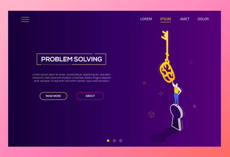 Problem solving - modern isometric vector web banner on dark purple background. High quality colorful composition with businessman standing on a keyhole, holding a key, finding a solution