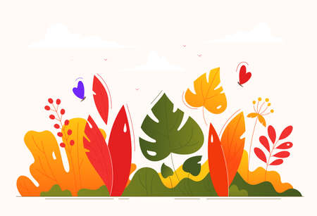 Floral composition - modern flat design style illustration on light pink background. High quality images of leaves, plants, grass, butterflies. Red, orange, green colors. Natural elements