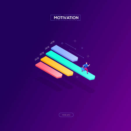 Motivation concept - modern isometric vector web banner on bright purple background. High quality composition with a businessman running on diagram sector, achieving best results. Business analytics 일러스트