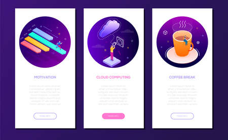 Business and technology - set of isometric banners on purple background with place for text. Colorful images of businessman in different situations. Motivation, cloud computing, coffee break concepts Illustration