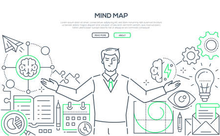 Mind map - modern line design style web banner on white background. High quality composition with a specialist, businessman thinking over business project. Effective management and planning concept Archivio Fotografico - 111420662