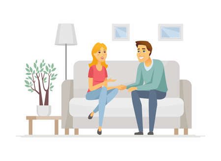 Young family talking - cartoon people characters illustration. High quality composition with wife and husband, couple sitting on a couch, holding hands, discussing their problems in the living room