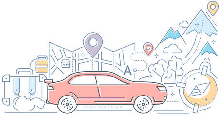 Navigation - modern line design style vector illustration on white background. High quality colorful composition with a car on the road, suitcase, luggage, geo location tag, map, mountains, route  イラスト・ベクター素材