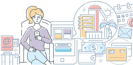 Online booking - modern line design style vector illustration on white background. An image of a woman planning her vacation, making a reservation in a hotel by smartphone, mobile app. Travel concept Stock Illustratie