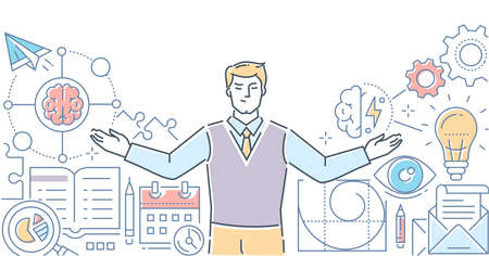 Mapa myśli - Nowoczesna linia styl wektor ilustracja na białym tle. Wysokiej jakości kompozycja ze specjalistą, biznesmenem zastanawiającym się nad projektem biznesowym. Zarządzanie zadaniami, koncepcja planowania Ilustracje wektorowe