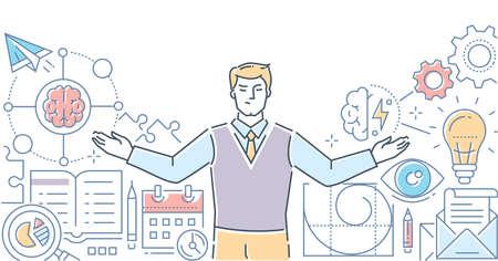 Mindmap - moderne Liniendesign-Stil-Vektor-Illustration auf weißem Hintergrund. Hochwertige Komposition mit einem Spezialisten, Geschäftsmann, der über ein Geschäftsprojekt nachdenkt. Aufgabenmanagement, Planungskonzept Vektorgrafik