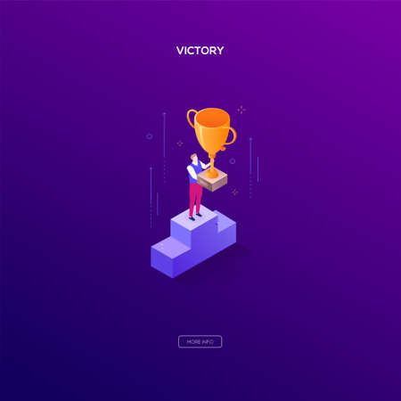 Victory concept - modern isometric vector web banner on dark purple background. High quality illustration with businessman, manager standing on a podium, getting the prize, cup. Winner, competition