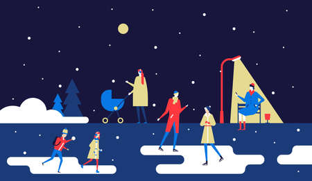 Winter park - flat design style colorful illustration
