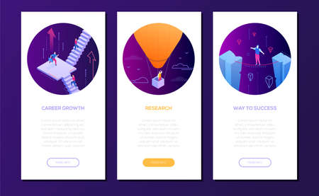 Business concepts - set of isometric web banners on purple background with place for text. High quality collection with managers in different situations. Career growth, research, way to success themes