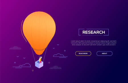 Business research - modern isometric vector web banner on dark purple background with copy space for text. High quality illustration with businessman on a hot air balloon, looking into the distance